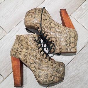 Jeffrey Campbell wood platform snake skin heel s7
